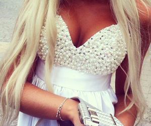 dress, blonde, and hair image