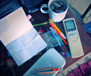 colorful, desk, and messy image