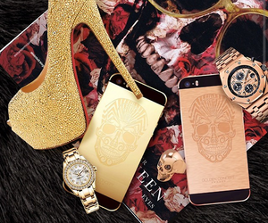 gold, luxury, and iphone image