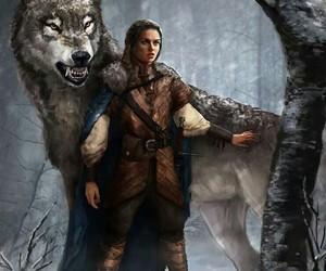 game of thrones, arya stark, and nymeria image