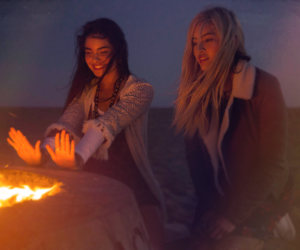 blonde, bonfire, and fashion image