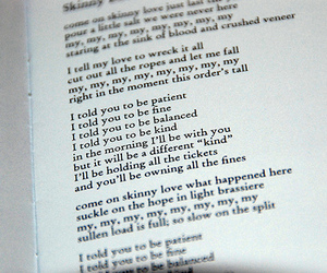 skinny love, bon iver, and Lyrics image