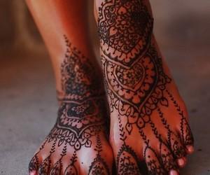 henna, tattoo, and feet image