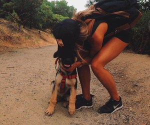 dog, girl, and nike image