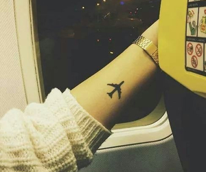 airplane, girl, and sweater image