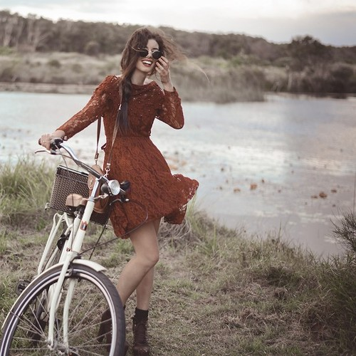 girl, dress, and bike image