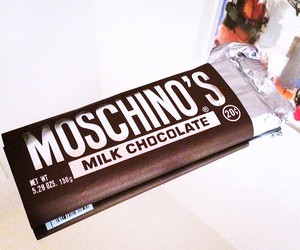 chocolate, milk, and Moschino image