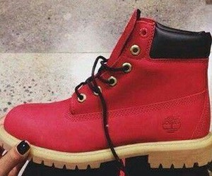 red, timberlands, and red timberlands image