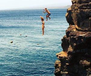 summer, sea, and jump image