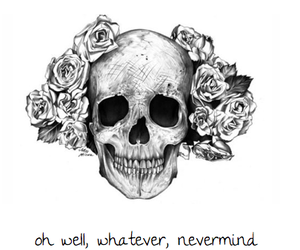 skull, rose, and flowers image