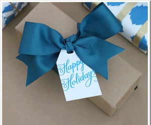 blue, bow, and Paper image