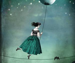 art, balloon, and moon image
