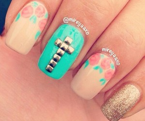 nails, cross, and floral image