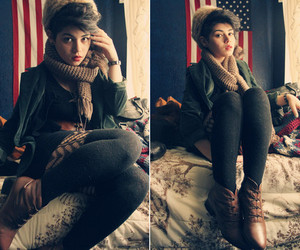boots, fur hat, and fashion image