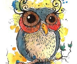 aquarela, art, and owl image