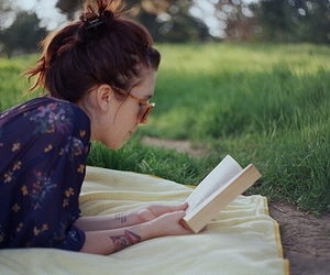 girl, book, and reading image