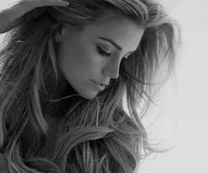 black and white, hair, and pretty image