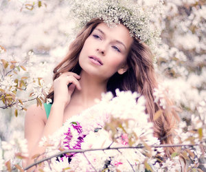 flowers, spring, and woman image