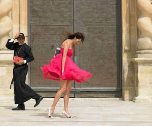 dress, pink, and wind image