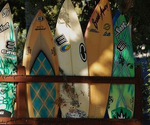beach, surf, and surfboard image