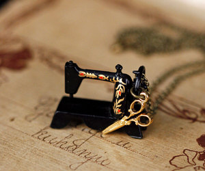 little, necklace, and sewing machine image
