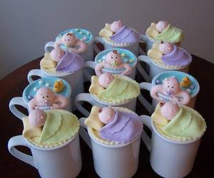 baby shower, baby, and cupcake image