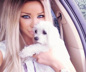 dog, blonde, and girl image
