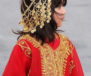 girl, traditional, and gold image