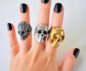 skull, nails, and gold image