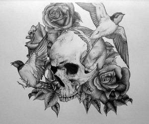 rose tattoo, skull, and old school image