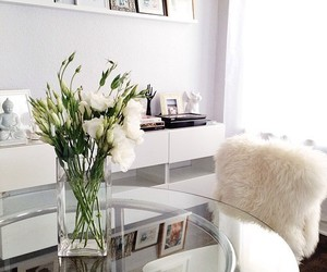 room, white, and flowers image