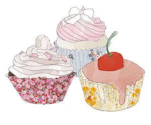 cupcake, cherry, and illustration image