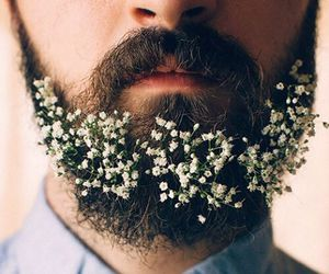 beard, flowers, and man image