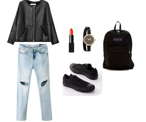 bag, black, and boyfriend jeans image