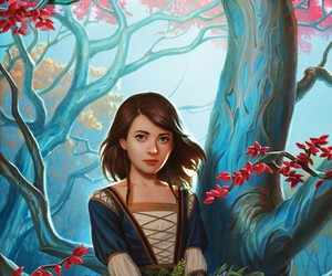 art, girl, and tree image