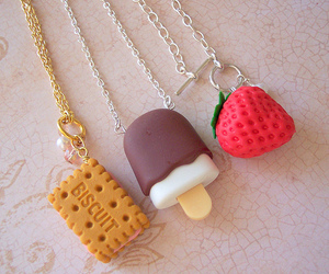strawberry, biscuits, and necklace image