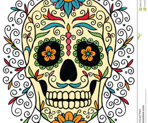 colors, flowers, and skull image