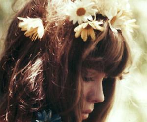 flowers, hair, and vintage image