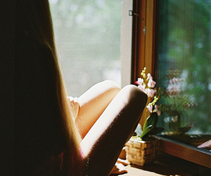 girl, window, and flowers image