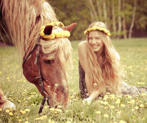 girl, flowers, and horse image