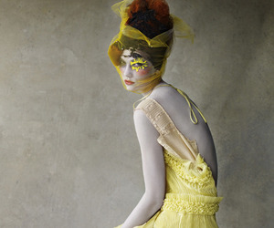 red hair, yellow, and yellow dress image
