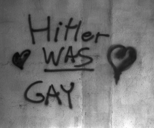 black and white, gay, and hitler image