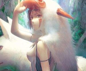 girl, mononoke, and princess image