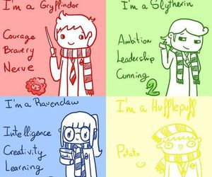 harry potter, slytherin, and hufflepuff image
