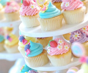 blue, cupcake, and pink image