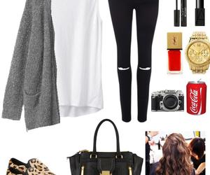 bag, brunette, and cardigan image