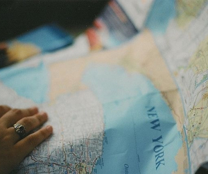 map, new york, and hand image