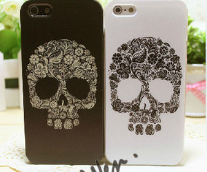 skull, cover, and flowers image