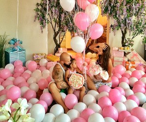 family, pink, and balloons image