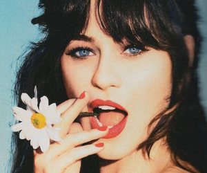 zooey deschanel, flowers, and blue eyes image